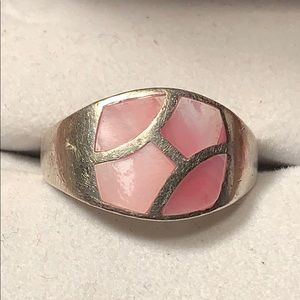 Sterling Silver Pink Mother of Pearl inlay ring